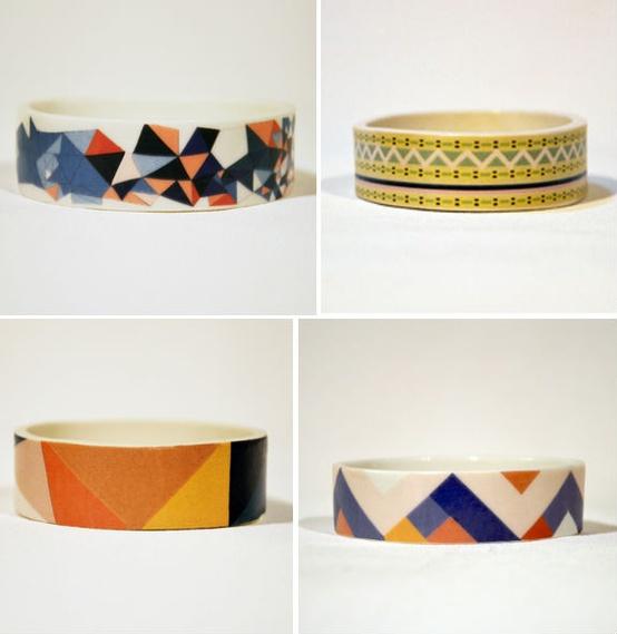 bracelets Géometriques  en céramique de Erin Lightfoot