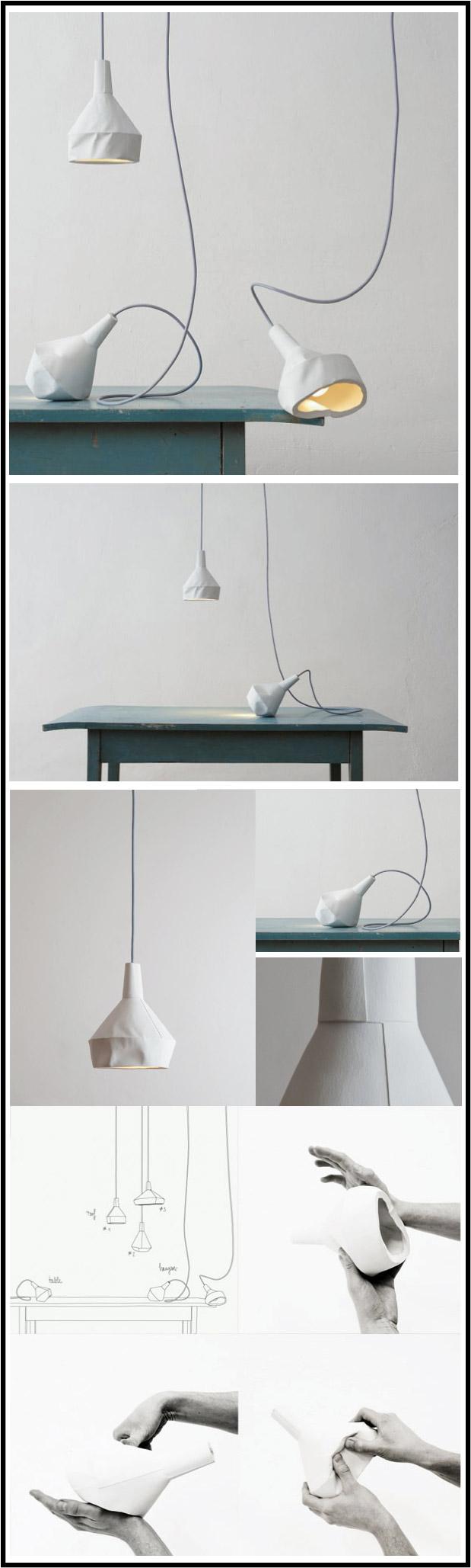 like-paper suspension béton effet papier froissé par chiara stella home