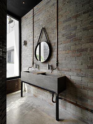 salle de bain beton briques