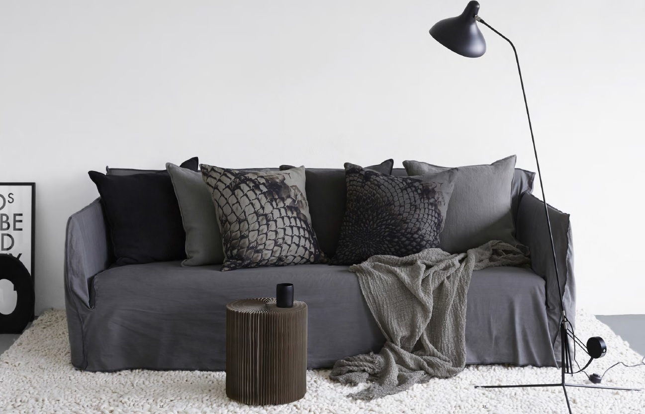 ByNord design scandinave noir et blanc coussins lin by nord chiara stella home