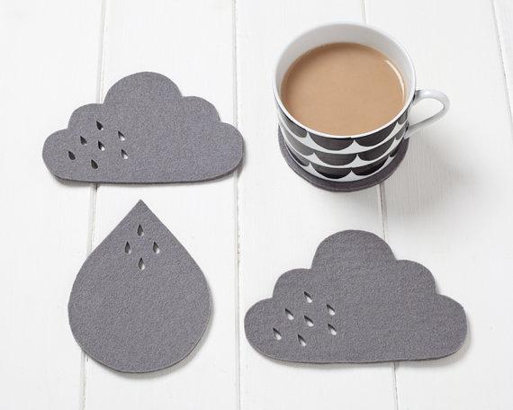 pygmy cloud sous verre nuage  et goutte pluie feutre gris petit cadeau sympa chiara stella home