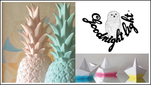 goodnight-lightlampe ananas et lampe bateau origami par lorena canals et eva newton
