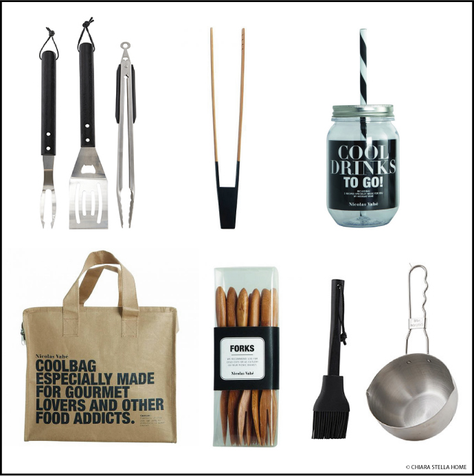 nicolas-vahe set barbecue, set marinade, couverts bambou, pince saucisses, cool bag