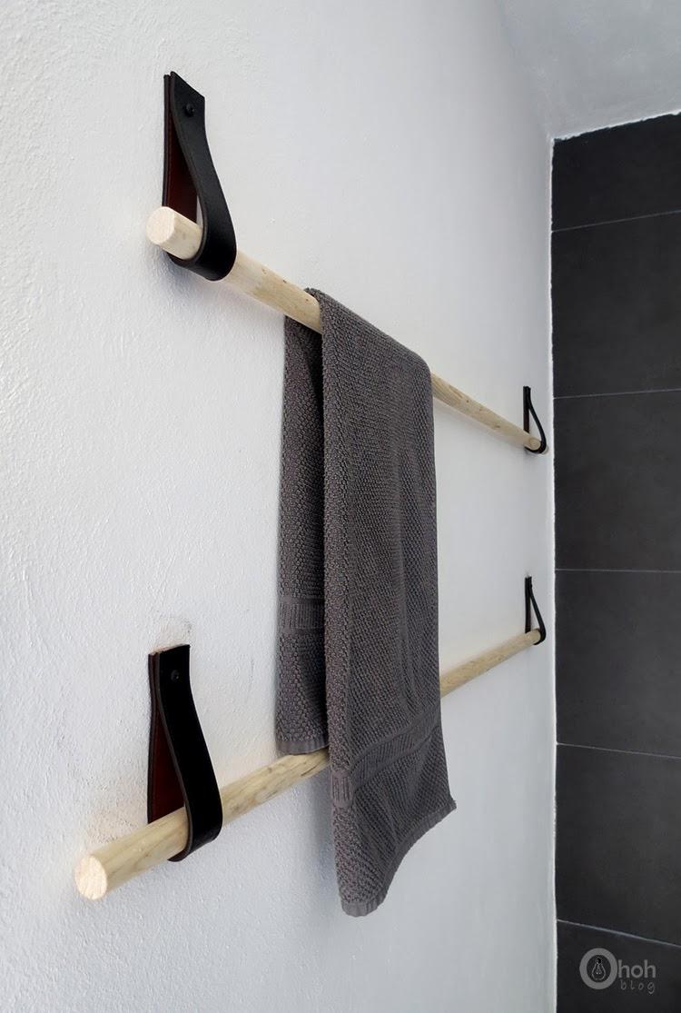 diy porte serviette design cuir et bois oh oh blog4